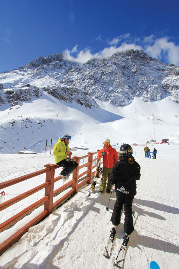 Portillo can be skied as steep or as mellow as you like, with step out the ski room door convenience. © Owain Price
