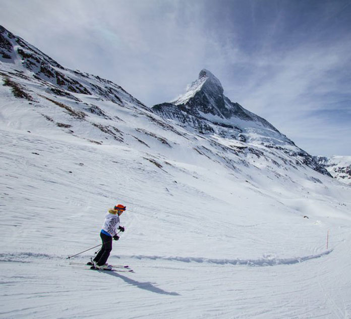 Skiing past the Matterhorn Zermatt