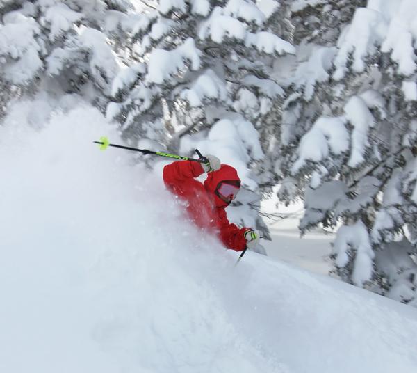 skiing deep powder at Grandeco