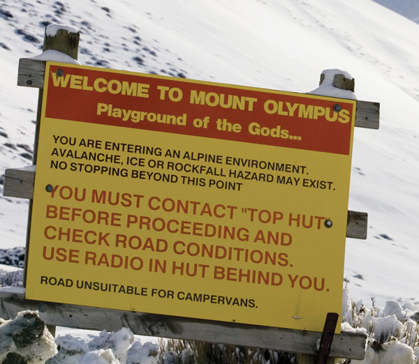 Mt Olympus welcome sign