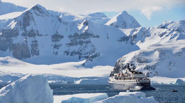 Ski Antarctica at anchor