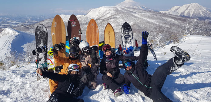 Quiver of test boards including Gentemstick Super Fish in sled accessed back country near Rusutsu, Hokkaido