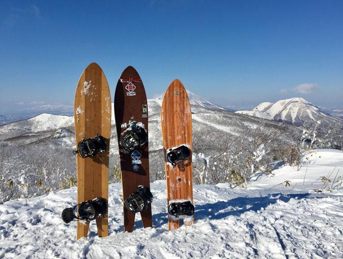 Gentemstick Super Fish snowboard test lineup at our secret location near Rusutsu, Hokkaido