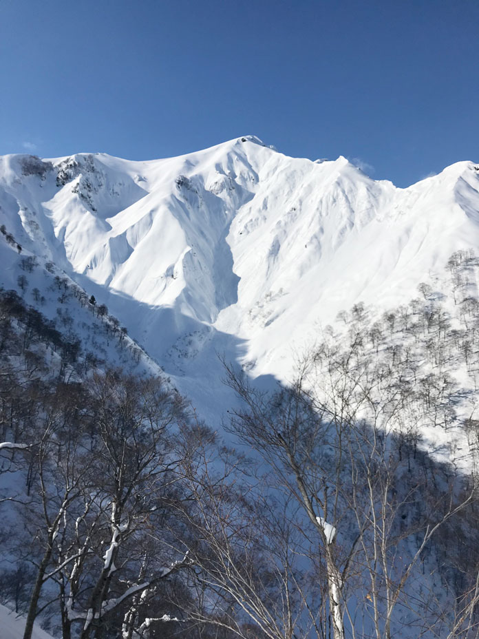 A view of Tenjindaira's Avalanche Alley zone