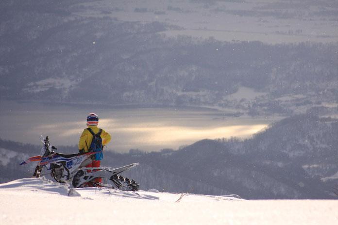 Enjoying amazing views with Snow Bikes Hokkaido