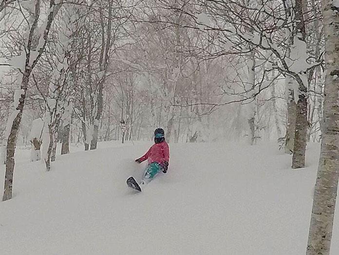 Riding trees on a MOSS Performance Quad Fishbone 60 snowboard