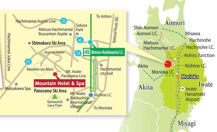 Map showing how to get to Hachimantai Mountain Hotel & Spa by air, road and rail