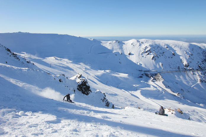 Smashing through The Tower at Mt Hutt our joint equal number one on our list of the Top 5 Ski areas in New Zealand