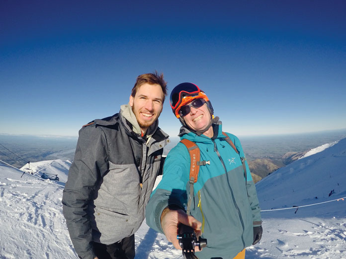 Selfie time at top of Mt Hutt New Zealand