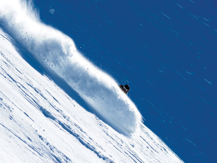 Charging steep slope at Mount Olympus one of the Top 5 ski areas in New Zealand