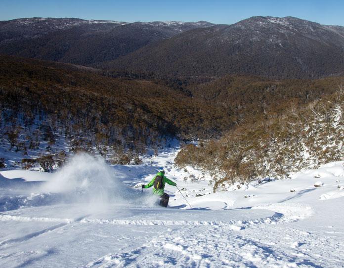 Powder skiing at Twin Valleys near Thredbo