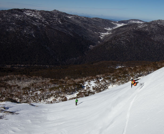 Dropping into the top of Twin Valleys near Thredbo