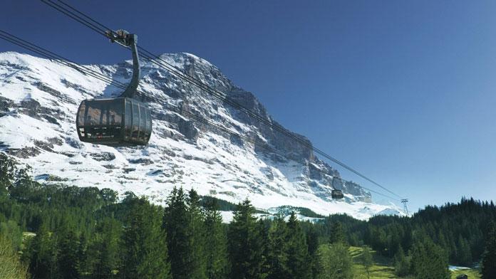 Artist's impression of V-Cableway Eiger Express tri-cable gondolas