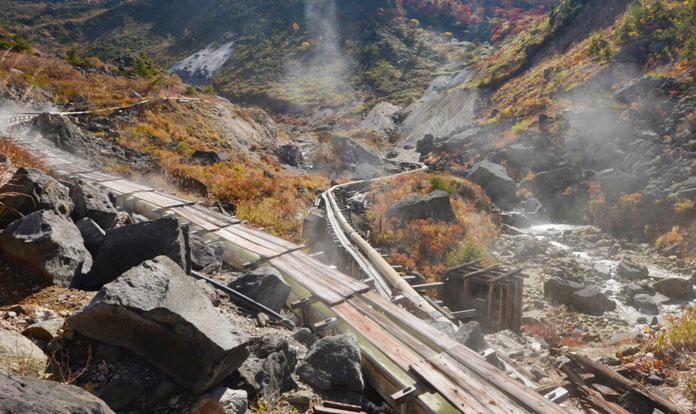 Nakanosawa Onsen source in a high valley