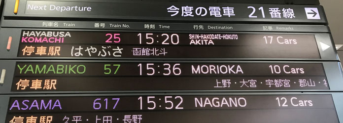 Shinkansen station departure boards in Japan are very informative making using your JR East Rail Pass easy