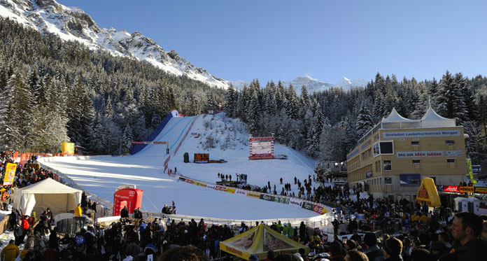 Finish are of the Lauberhorn World Cup Downhill race at Wengen