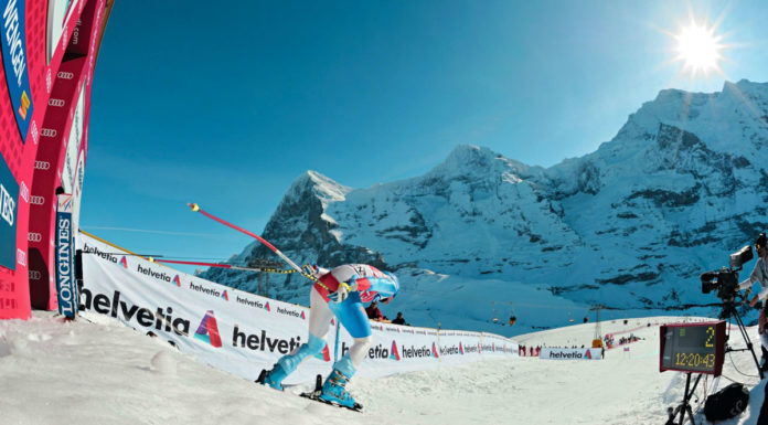 Charging out of the start gate of the Lauberhorn Downhill race