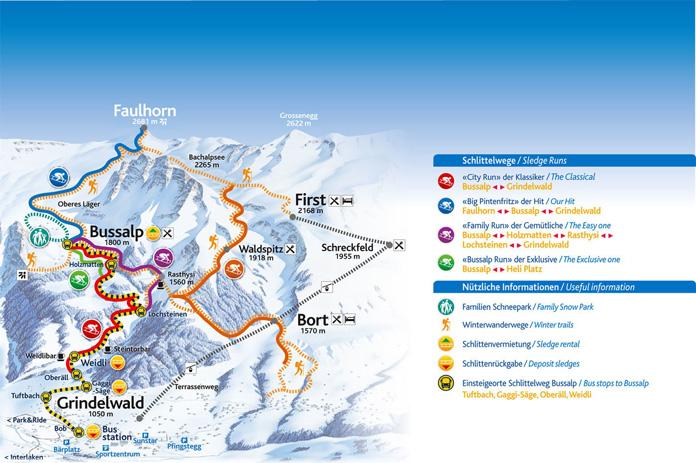 Grindelwald Sledging trails map