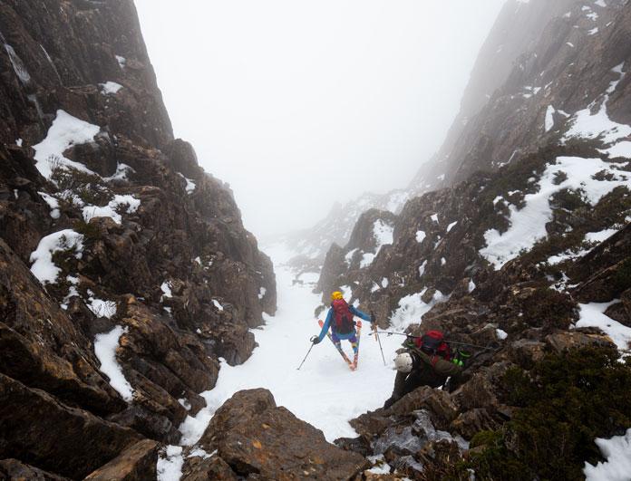 skiing the West Face chute Cradle Mountain, Tasmania