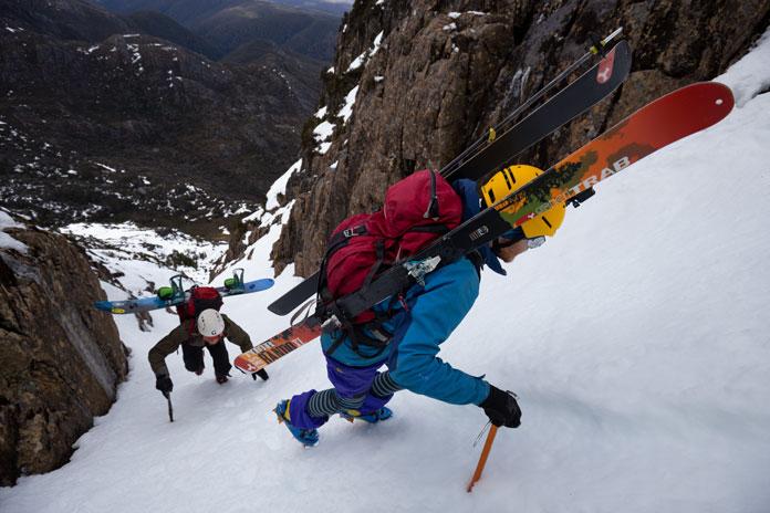 Climbing up the steep Cradle Mountain Couloir, Tasmania