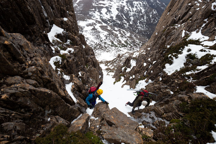 Climbing into the West Face chute at Cradle Mountain