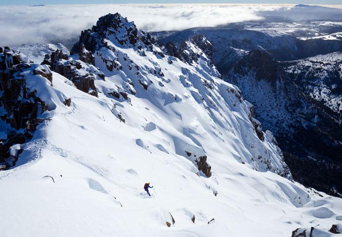 Skiing Cradle Mountain's East Face bowls, Tasmania