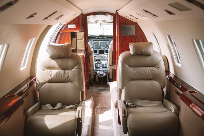 Airly private share jet interior view for flying to Hotham the luxury fast way