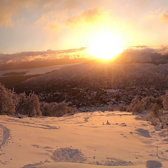Sunrise over Lake Nahual Huapi and Cerro Catedral