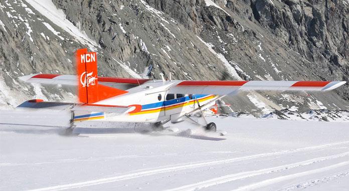 Ski The Tasman ski plane landing on the Tasman Glacier
