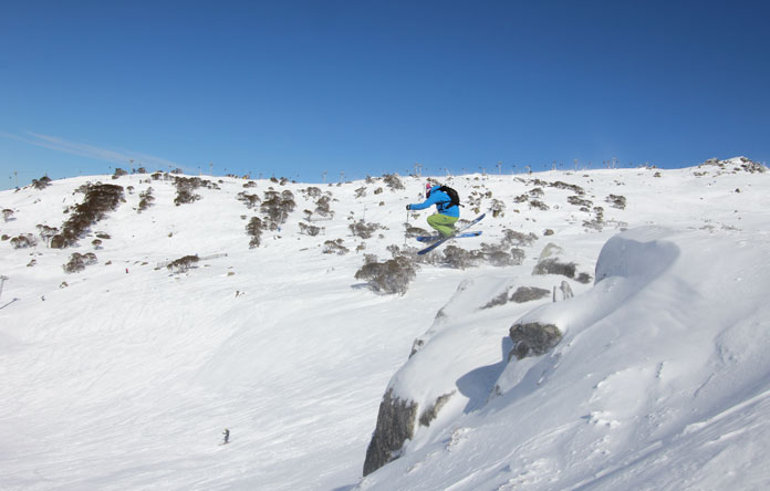 Sending the rock into Sun Valley below Olympic at Perisher