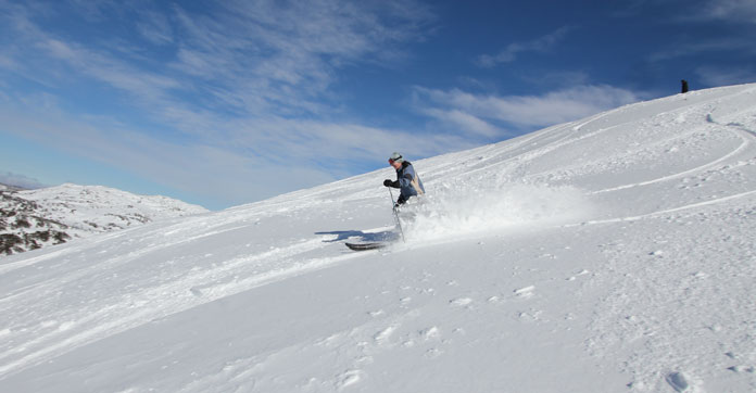 Windblown snow off the Summit at Blue Cow side of Perisher