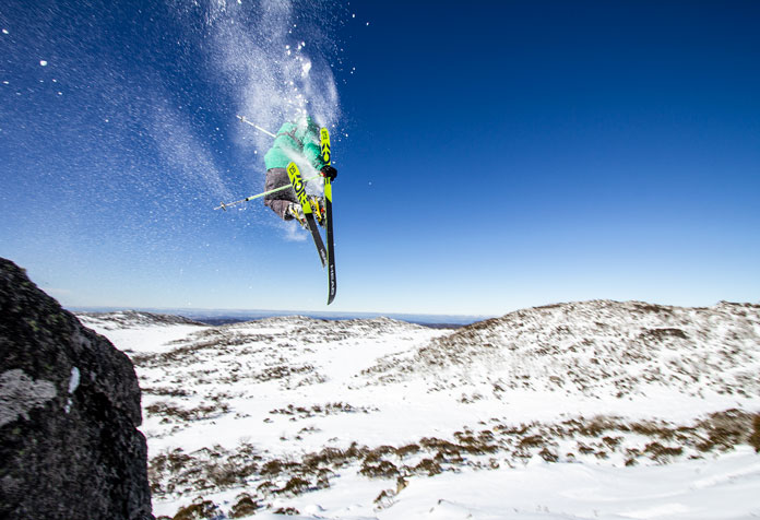 Popping off a boulder on Mount Wheatley, Perisher