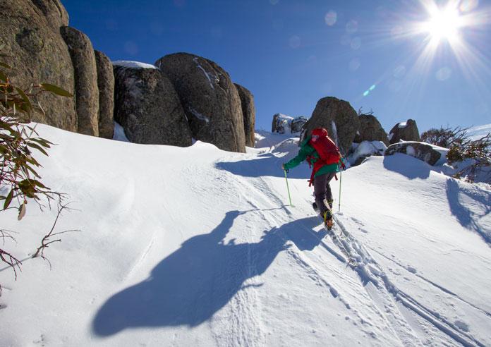 Skinning up Mount Wheatley, Perisher