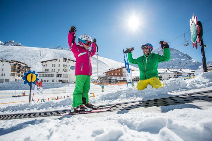Kids love learning to ski at Kühtai, Innsbruck