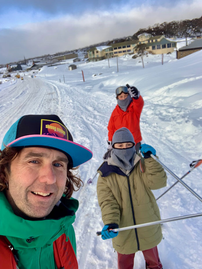 cross country ski along the road past Perisher Village