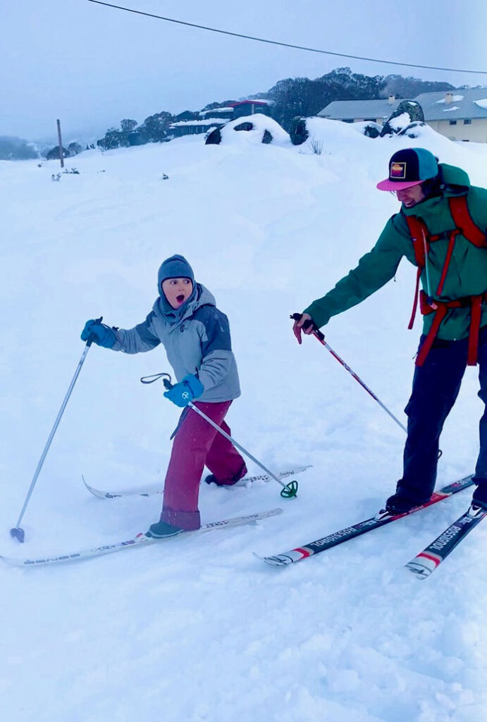 Cross country family ski race at Perisher