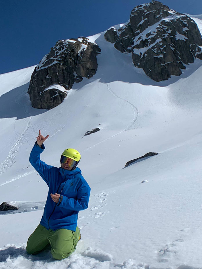 Chute ski line at Blue Lake