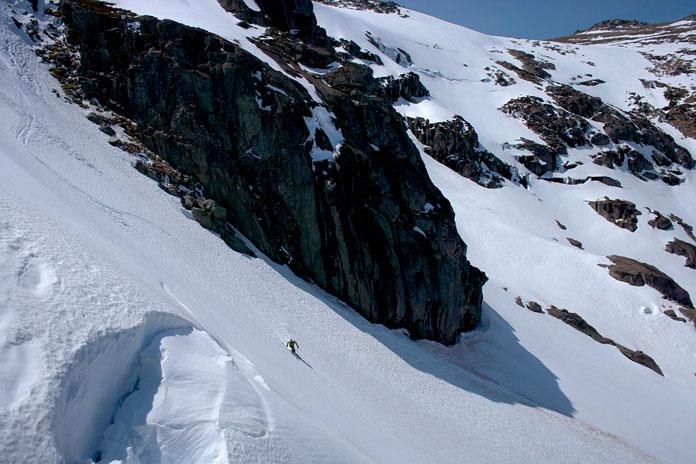Lone skier at Blue Lake chutes