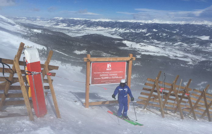 North America's highest lifted point is the top of the Imperial Express at Breckenridge