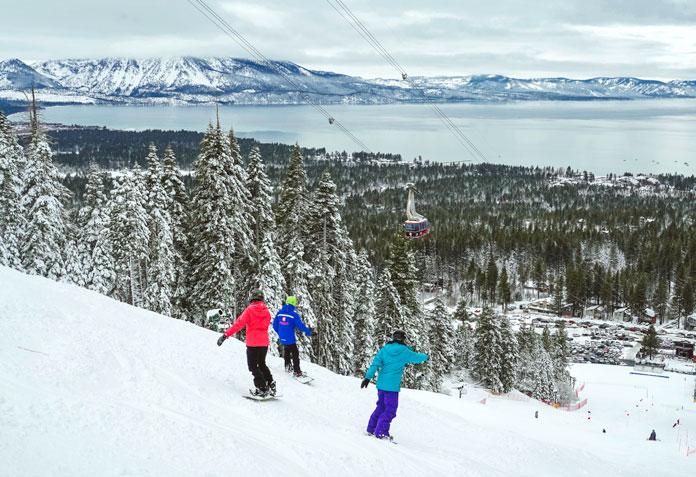 Riding back to the Heavenly Ski Resort California Base Lodge
