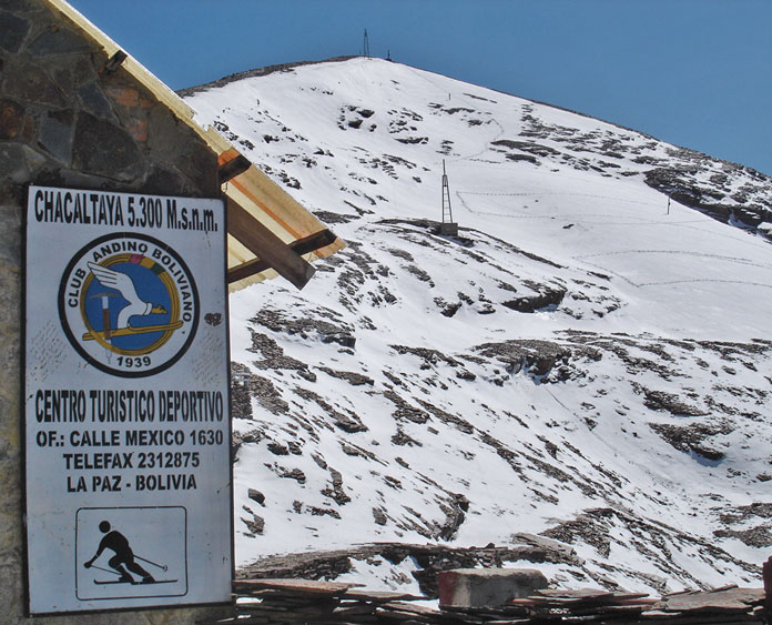 Skiing on Chacaltaya, Bolivia, then the World's highest ski area, in 2007