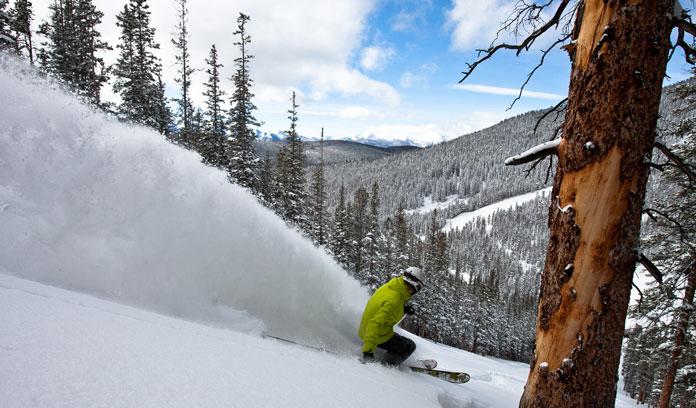 Powder skiing backside of Keystone