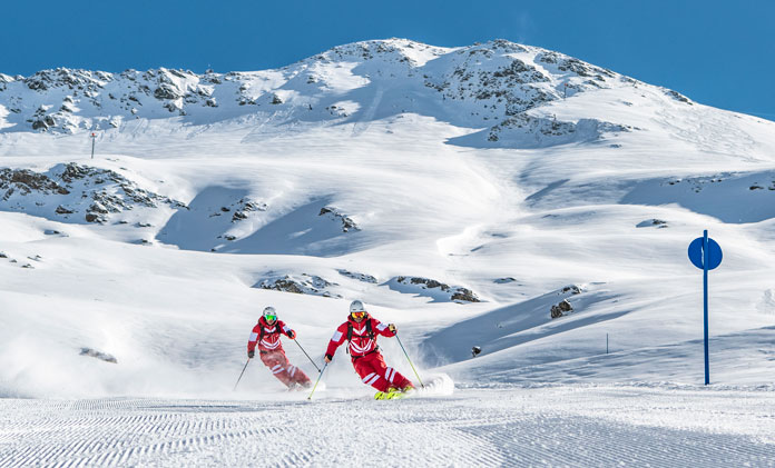 Ski Instructors training at St Anton am Arlberg