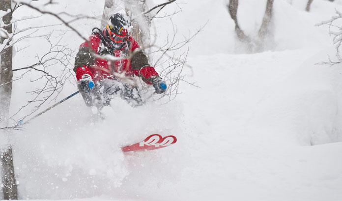 Tree skiing in deep snow at Seki Onsen, Myoko