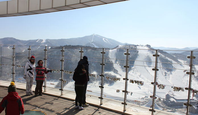 view from the Winter Olympic Jump tower back over Alpensia with Yongpyong in the distance