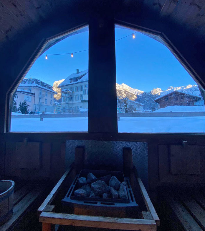 View from sauna at Hotel Ski Lodge Engelberg