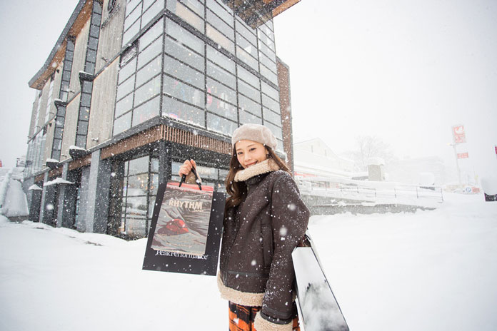 Shopping in a snow storm at Niseko