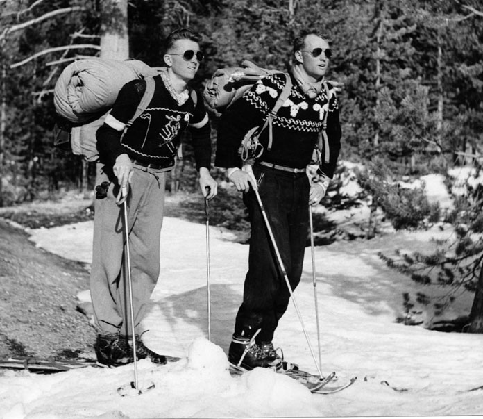 Warren Miller heading backcountry in the 1940s