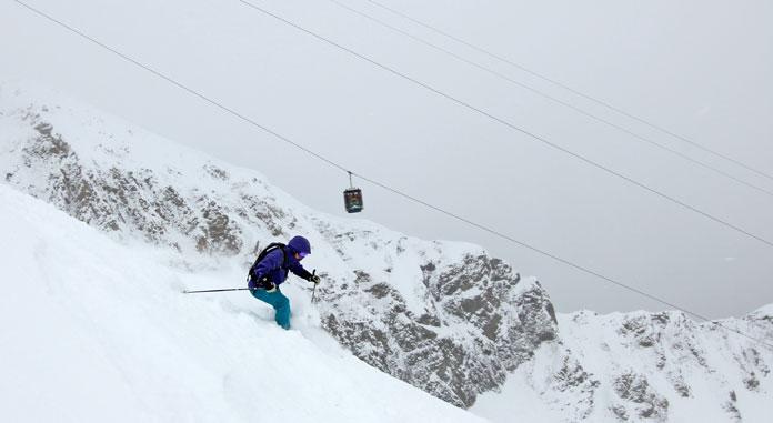Powder skiing off Big Sky's Lone Peak Tram