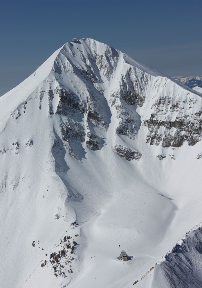 Spectacular view of Big Sky's Lone Peak Tram in winter.